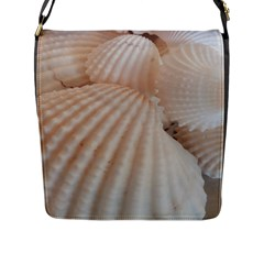 Sunny White Seashells Flap Closure Messenger Bag (Large)