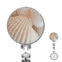 Sunny White Seashells Stainless Steel Nurses Watch