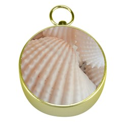 Sunny White Seashells Gold Compass