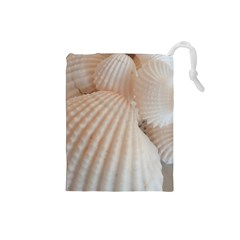 Sunny White Seashells Drawstring Pouch (Small)