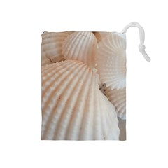 Sunny White Seashells Drawstring Pouch (Medium)