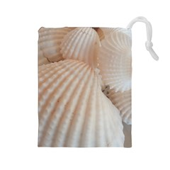 Sunny White Seashells Drawstring Pouch (Large)