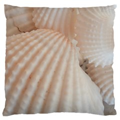 Sunny White Seashells Large Flano Cushion Case (two Sides)