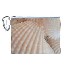 Sunny White Seashells Canvas Cosmetic Bag (Large)