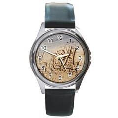 Lol Round Leather Watch (silver Rim)