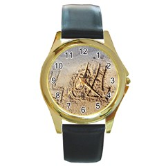 LOL Round Leather Watch (Gold Rim)