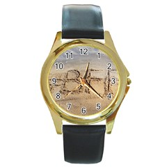 #bff Round Leather Watch (gold Rim)