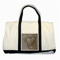 Heart In The Sand Two Toned Tote Bag