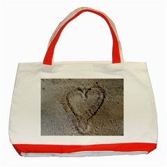 Heart In The Sand Classic Tote Bag (red)