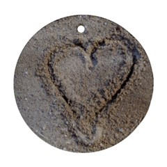 Heart In The Sand Round Ornament (two Sides)