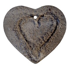Heart In The Sand Heart Ornament (two Sides)