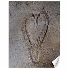 Heart In The Sand Canvas 12  X 16  (unframed)