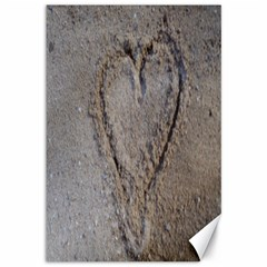 Heart In The Sand Canvas 12  X 18  (unframed)
