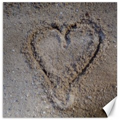 Heart In The Sand Canvas 16  X 16  (unframed)