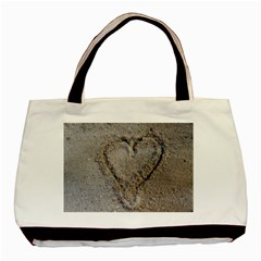 Heart In The Sand Twin Sided Black Tote Bag