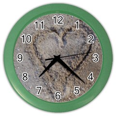 Heart In The Sand Wall Clock (color)