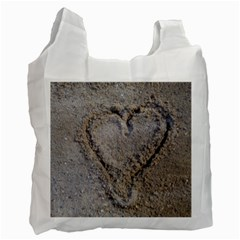 Heart In The Sand White Reusable Bag (one Side)