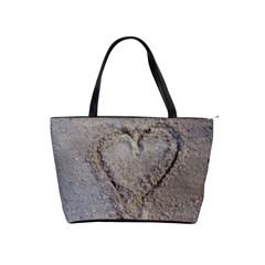 Heart in the sand Large Shoulder Bag