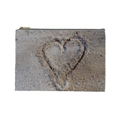 Heart in the sand Cosmetic Bag (Large)