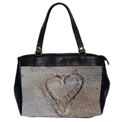 Heart in the sand Oversize Office Handbag (Two Sides)