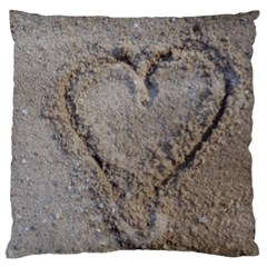 Heart In The Sand Large Cushion Case (two Sided)