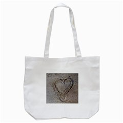 Heart in the sand Tote Bag (White)