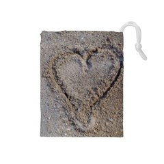 Heart in the sand Drawstring Pouch (Medium)