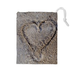 Heart in the sand Drawstring Pouch (Large)