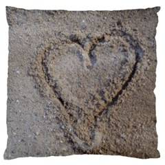 Heart in the sand Large Flano Cushion Case (Two Sides)