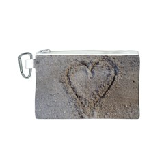 Heart in the sand Canvas Cosmetic Bag (Small)