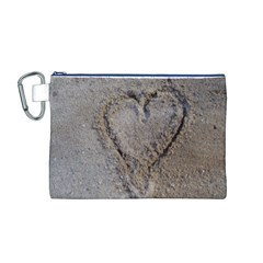 Heart in the sand Canvas Cosmetic Bag (Medium)