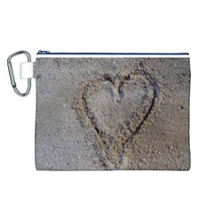 Heart in the sand Canvas Cosmetic Bag (Large)