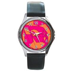 Red Orange 5000 Round Leather Watch (silver Rim)