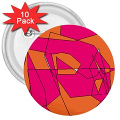 Red Orange 5000 3  Button (10 Pack)