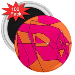 Red Orange 5000 3  Button Magnet (100 Pack)