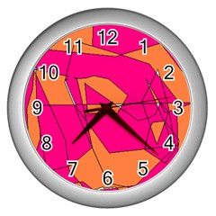 Red Orange 5000 Wall Clock (silver)