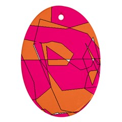 Red Orange 5000 Oval Ornament (two Sides)