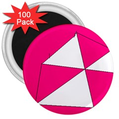Pink White Art Kids 7000 3  Button Magnet (100 Pack)