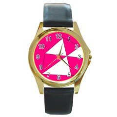 Pink White Art Kids 7000 Round Leather Watch (gold Rim)