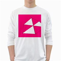 Pink White Art Kids 7000 Men s Long Sleeve T-shirt (White)