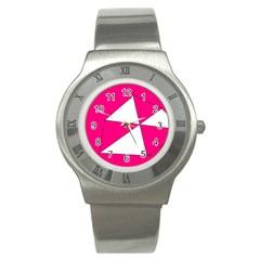 Pink White Art Kids 7000 Stainless Steel Watch (slim)
