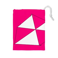 Pink White Art Kids 7000 Drawstring Pouch (Large)