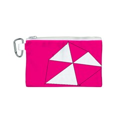 Pink White Art Kids 7000 Canvas Cosmetic Bag (Small)