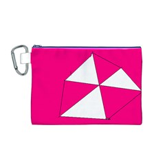 Pink White Art Kids 7000 Canvas Cosmetic Bag (Medium)