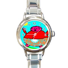 Sweet Pig Knoremans, Art by Kids Round Italian Charm Watch