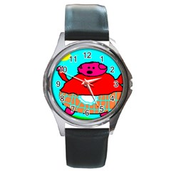 Sweet Pig Knoremans, Art by Kids Round Leather Watch (Silver Rim)