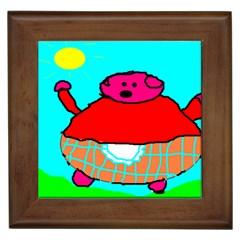 Sweet Pig Knoremans, Art by Kids Framed Ceramic Tile