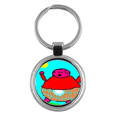 Sweet Pig Knoremans, Art By Kids Key Chain (round)