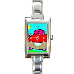 Sweet Pig Knoremans, Art By Kids Rectangular Italian Charm Watch