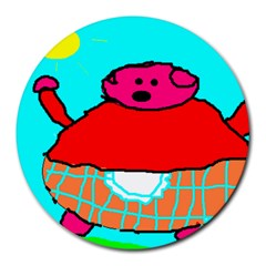 Sweet Pig Knoremans, Art By Kids 8  Mouse Pad (round)